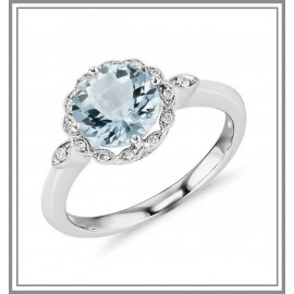 Aquamarine and Diamond Milgrain Halo Gemstone Ring
