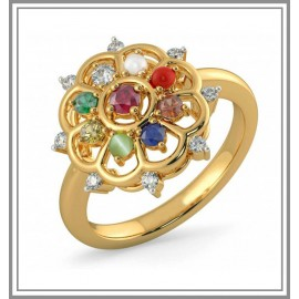 Navaratna, Ruby And Diamond Gemstone Ring In 18Kt Gold