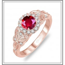 Ruby & Diamond Rose Gold Ring