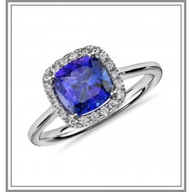 Tanzanite Cushion and Diamond Halo Gemstone Ring